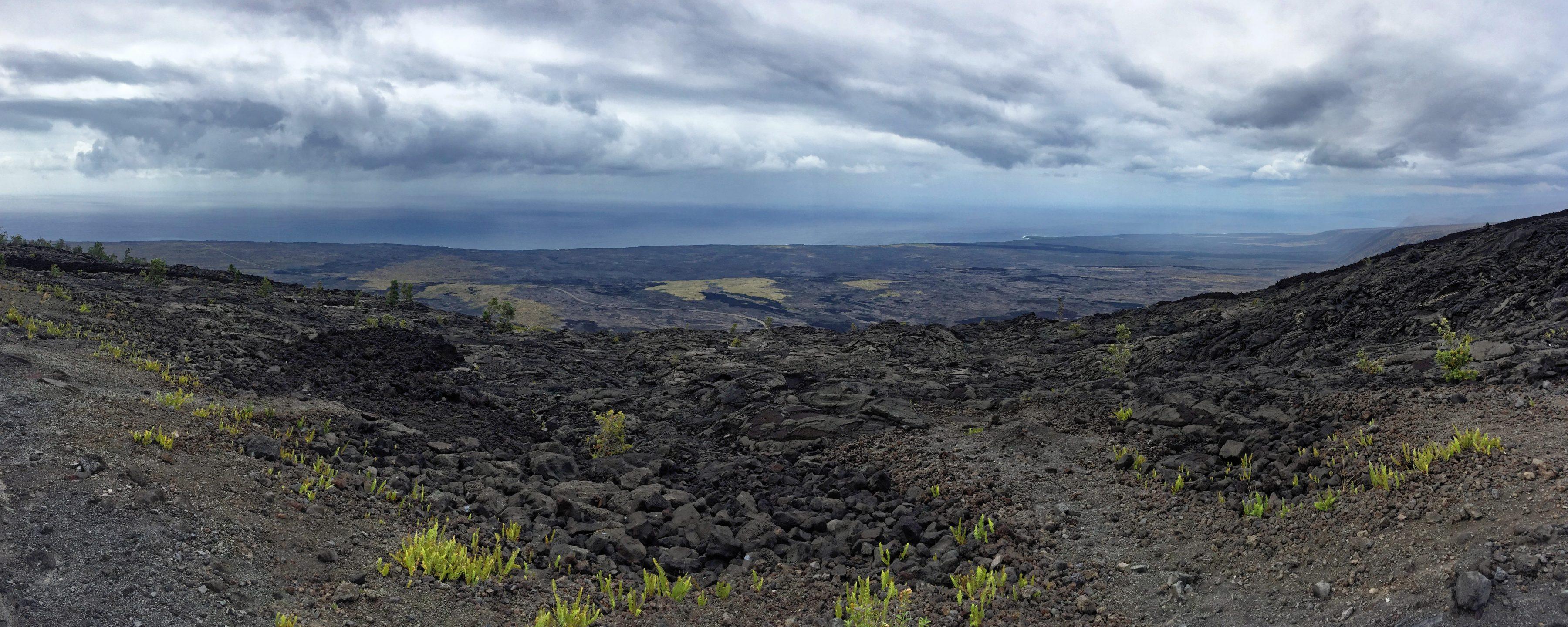 """A partir de """"chain of craters road"""", sur le rift est du Kilauea, un jour de pluie"""