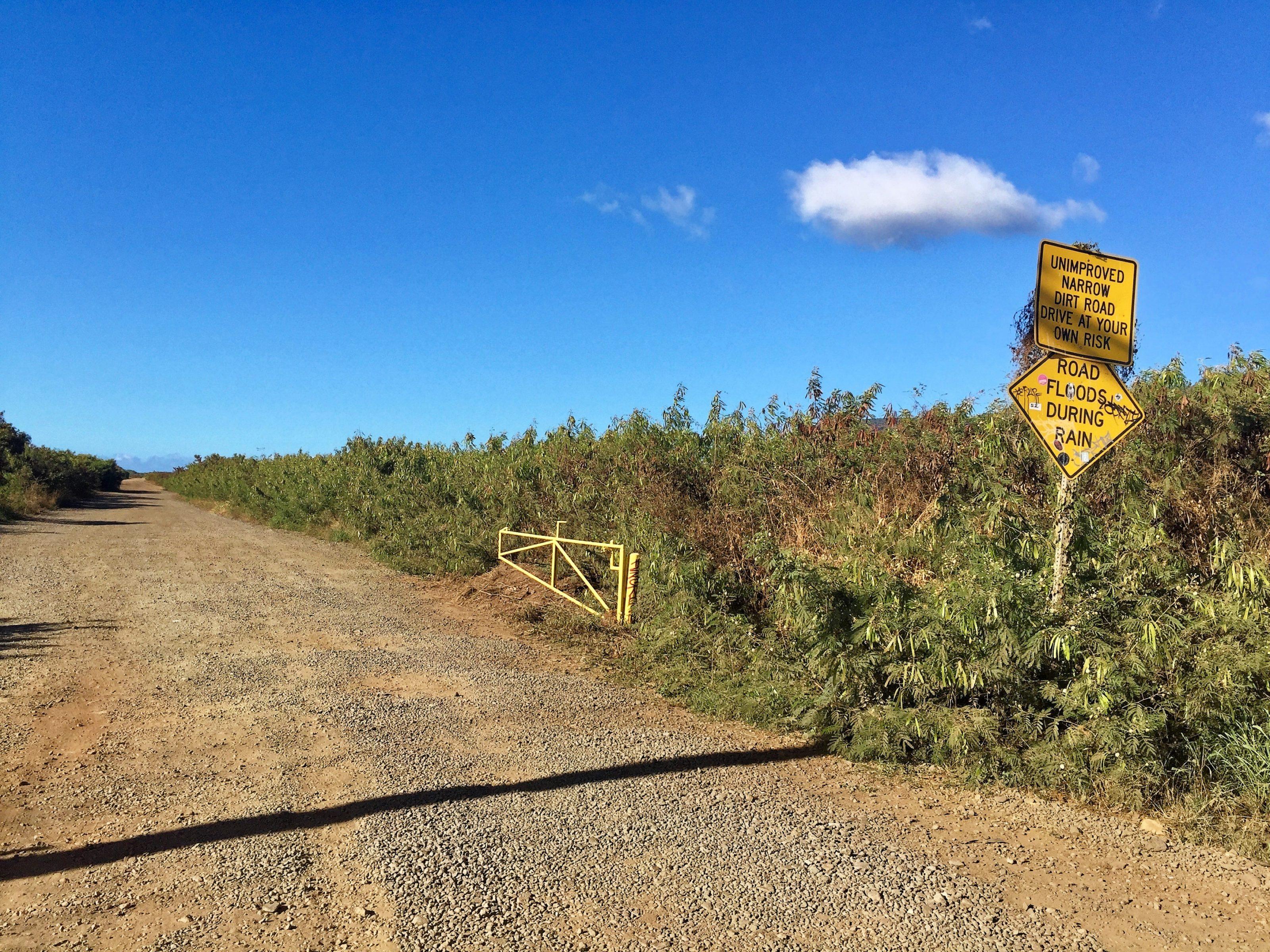 La piste qui mène à la plage de Polihale